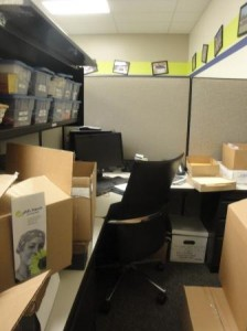 Vacant cubicle became storage area